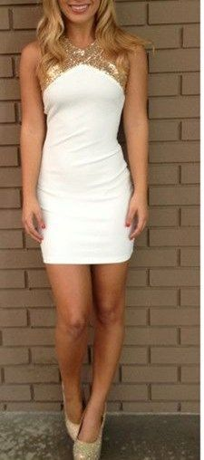 white tight Homecoming dresses,gold sequins prom dresses, sexy backless homecoming dresses, 2015 hot sale prom dresses,