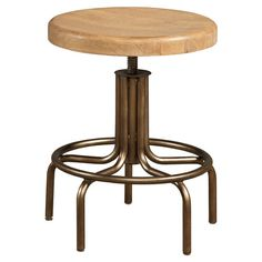 Industrial-style stool in woodstone with height-adjustable seat.    Product: StoolConstruction Material: Oak sol...