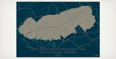 Great Smoky Mountains National Park, North Carolina-Tennessee, 1934, Muir Way National Park Maps