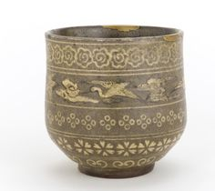 The descendents of Korean Buncheong potters taken to Japan during Hideyoshi's invasion of 1592 continue producing Buncheong ware down to the present day, while its production disappeared entirely in Korea itself. Japanese Yatsushiro ware tea cup with Korean-style decoration. 1850-1890 Edo period or Meiji era