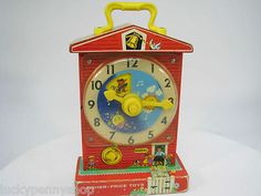 Vintage 1968 Fisher Price Music Box Teaching Clock Wind Up Toy #998 www.luckypennyshop.com