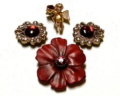Cupid Red Gold Flower Shaped Elegant Up cycled by PAVACreations