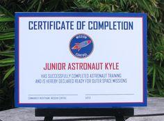 Astronaut Training Certificate