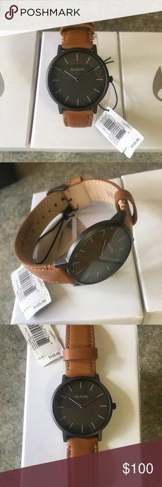 Nixon Porter Leather Gunmetal/Taupe Brand New In Box With Tags!! Bringing classic, sharp style to you by the boat-load, rounds out any outfit with traditional good looks.  Check Out My Other Items!!! Nixon Accessories Watches