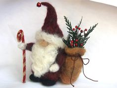 Father Christmas felted Gnome Holiday Decoration by woolcrazy, $32.00