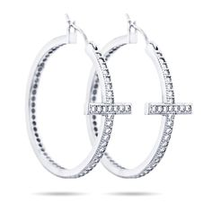 Sideways Cross CZ Hoops Earrings -- Read more reviews of the product by visiting the link on the image.