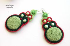 SOUTACHE EARRINGS/Soutache Jewelry/Perls/Green Lava Rock Gemstone/Handmade Earrings/Gift Ideas/CHRISTMAS gift/earrings/soutache