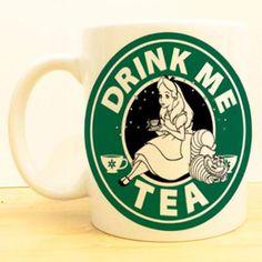 Alice in Wonderland Coffee Mug - Drink Me Tea - Starbucks Tea Mugs, Coffee Mugs, Disney Mugs, Disney Starbucks, Starbucks Logo, Chesire Cat, Adventures In Wonderland, Lewis Carroll, My Cup Of Tea