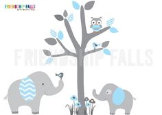 Mini Jungle Decals, Small elephant Wall Decal, Nursery Wall Decal, Friendship Falls wall decal, Baby Blue & White Chevron Grey Tree by FriendshipFalls on Etsy https://www.etsy.com/listing/180981588/mini-jungle-decals-small-elephant-wall