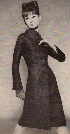 1962 Audrey Hepburn in Saint Laurent's glove dress; smooth as a second skin, graceful sheath for vivid slimness.