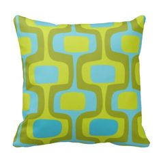Mid-Century Aqua and Chartreuse Retro Pattern Throw Pillows
