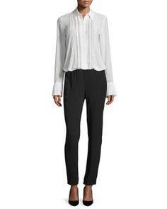 Alwinth+Mosaic+Pleat-Front+Silk+Top+&+Tralpin+Admiral+Crepe+Drawstring+Pants+by+Theory+at+Neiman+Marcus.