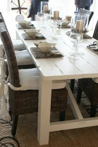 ♥ Ocean house ♥... love this white table with wicker chairs