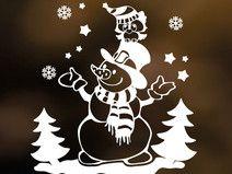 Aufkleber Fensterbild Eule auf Schneemann (weiß)
