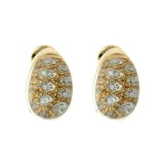 Pre-owned Cartier 18K Yellow Gold Diamond Quartz Post Clip Earrings ($2,993) ❤ liked on Polyvore featuring jewelry, earrings, gold diamond earrings, 18k gold earrings, yellow gold earrings, gold clip earrings and long diamond earrings