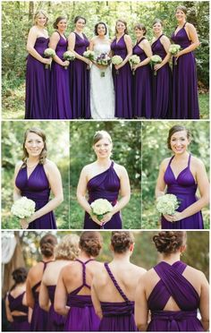 I love these purple bridesmaid dresses! They are convertible dresses used to create a mismatched bridesmaid dress look! by JoPhoto