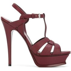 Saint Laurent Platform Sandals (59,050 INR) ❤ liked on Polyvore featuring shoes, sandals, high heel stilettos, ankle strap sandals, red leather sandals, ankle strap platform sandals and platform sandals