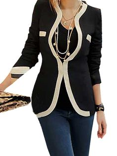 Fabulous Color Splicing Women Blazer Jacket Black on buytrends.com