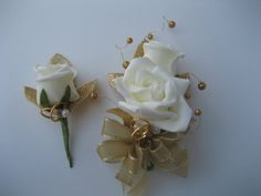 50th Wedding Anniversary Corsage and Boutonniere by DESIGNSBYDME