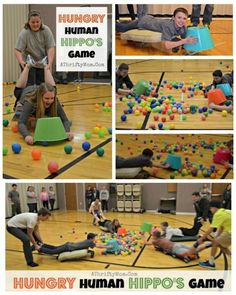 Hungry Human Hippo Game, perfect for family reunions, youth groups or lds mutual, group games, party game ideas (relay games for teens) Youth Group Games, Youth Activities, Activity Games, Family Games, Youth Groups, Large Group Games, Summer Camp Games, Camping Games, Camping Ideas