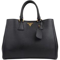 PRADA Vitello Diano Double Handle Tote ($1,445) ❤ liked on Polyvore featuring bags, handbags, tote bags, purses, bolsas, accessories, black, leather tote, prada purses and prada tote