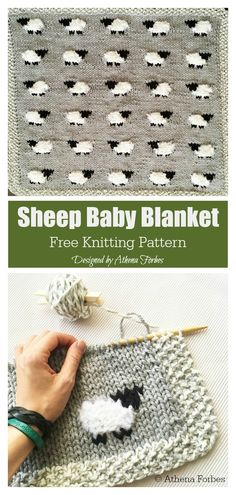 Sheep Baby Blanket Free Knitting Pattern - Stricken ist so einfach wie 3 D., Sheep Baby Blanket Free Knitting Pattern - knitting is as easy as 3 Knitting boils down to three essential skills. Sweater Knitting Patterns, Knit Patterns, Free Knitting, Knitting Needles, Knitting Patterns For Babies, Baby Blanket Knitting Pattern Free, Sock Knitting, Knitting Machine, Cardigan Pattern
