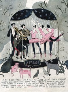 Illustration by Yelena Bryksenkova, The Human Zoo ( Anorak magazine), pen & watercolor on paper.