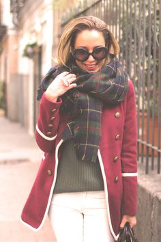 Classy English Style. That is it. Flannel/plaid scarf, get in my wardrobe!