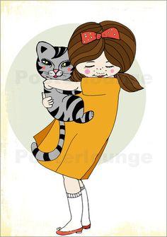 Poster Mädchen mit Katze