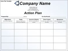 Business Action Plan Template Life