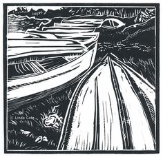 Days End Linocut Relief Print Boats Hand Pulled Fine Art Limited Edition