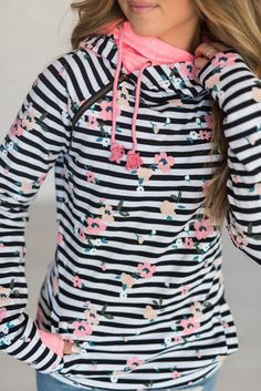This original DoubleHood™ Sweatshirt from Ampersand Avenue in Distressed Floral Stripe features a collar bone zipper detail, pockets and sleeve thumbholes. Long Romper, Long Sleeve Romper, Discount Womens Clothing, Floral Stripe, Stripe Print, Types Of Fashion Styles, Style Fashion, Feminine Fashion, Latest Fashion