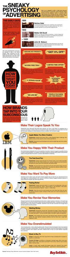 The Sneaky Psychology Of Advertising - INFOGRAPHIC. So many interesting studies at the bottom dealing with music influences and subliminal ads