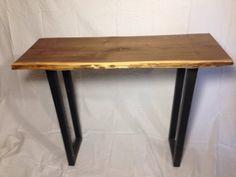 Live edge walnut slab table modern industrial hall sofa table