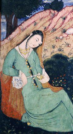 Safavid Art, Isfahan, Iran; woman having wine in solitude