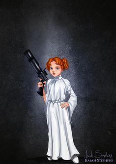 Wendy disfrazada como princesa Leia. Disfraces Halloween. Ilustrações de Isaías K. Stephens | Anne Reviews