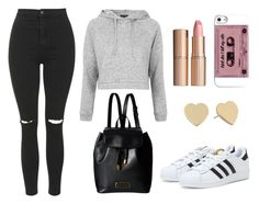 """""""Untitled #260"""" by elena-charalambous ❤ liked on Polyvore featuring adidas, Topshop, Marc by Marc Jacobs, Kate Spade and Charlotte Tilbury"""