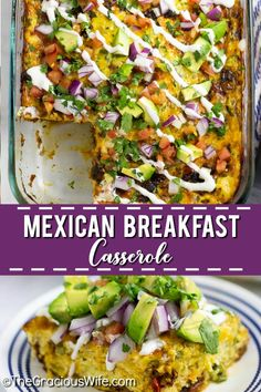 Mexican Breakfast Casserole is an overnight breakfast casserole, packed with flavor from salty, juicy chorizo, creamy eggs, and gooey cheese! Mexican Breakfast Casserole, Overnight Breakfast Casserole, Mexican Breakfast Recipes, Vegetarian Breakfast, Brunch Recipes, Mexican Food Recipes, Pancake Recipes, Crepe Recipes, Waffle Recipes