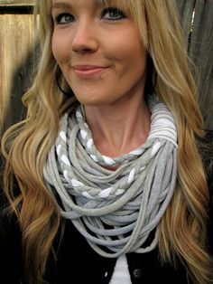 Upcycled, Lightweight, Jersey Knit Cotton Infinity Scarf in Light Grey and White