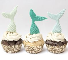 Fondant mermaid tail cupcake toppers Set of 8 See shipping