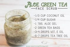 The ingredients you'll need are: -1/3 C. Coconut Oil -1/4 C. Sugar -1 Tbs. Aloe Vera Gelly -2 Green Tea Bags -3-4 drops Vitamin E Oil optional- just really good for your skin! -5-6 drops Tea Tree Essential Oil optional- great for keeping acne away!