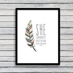 She confidently trusts the Lord to take care of her - Psalm 112:7 - Bible Verse - Typography