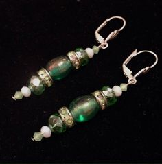 New Handmade Green Glass & Crystal Drop Earrings. Great Holiday Gift!  | eBay