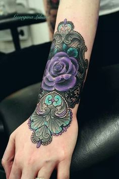 Purple rose for cystic fibrosis!!! This would be a good cover up tattoo for the two that I got a long time ago
