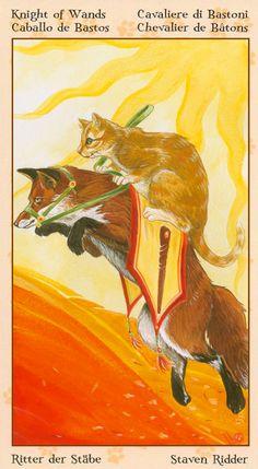 Le cavalier de bâtons - Tarot de chats païens