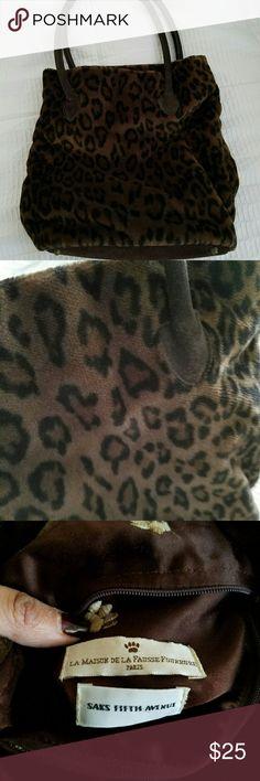 Sax Fith Ave. Plush Leopard print bag Plush brown Leopard bag. Sax Fifth Avenue see tag in photo. Sax Fifth Avenue Bags Shoulder Bags