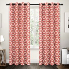 Exclusive Home Neptune Grommet Curtain Panel Pair Coral - EH8088-07 2-108G