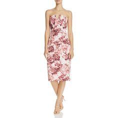 Black Halo Lena Floral-Print Sheath Dress ($400) ❤ liked on Polyvore featuring dresses, mysticim, floral dresses, floral sheath dress, strapless party dress, floral day dress and party dresses