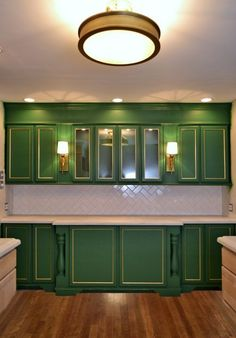 A Green Refrigerator Wall Of Cabinets (Plus, I'm Redoing My Kitchen Floor...Again) - Addicted 2 Decorating®