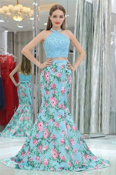 Mermaid Halter Turquoise Lace Satin Floral Printed Two Piece Prom Dress With Bow Navy Prom Dresses, Mermaid Prom Dresses Lace, Beautiful Prom Dresses, Lace Mermaid, Evening Dresses, Bridesmaid Dresses, Party Dresses, Dress Backs, Blue Lace